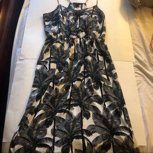 H&M Silky palm print midi strappy sundress pockets
